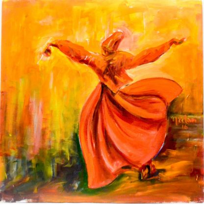 Whirling Dervish in orange and yellow hues acrylic on canvas